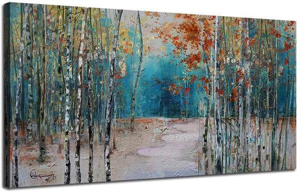 "Ardemy Canvas Wall Art Tree White Birch Picture Painting One Panel Blue Forest Landscape Nature Artwork Prints, Modern 40""x20"" Framed for Home Office Living Room Bedroom Bathroom Wall Decorations"