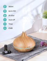 VicTsing Essential Oil Diffuser, 300ml Oil Diffuser with 7 Color Lights and 4 Timer, Aromatherapy Diffuser with Auto Shut-off Function, Cool Mist Humidifier BPA-Free for Bedroom Home