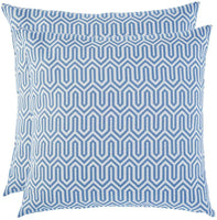 Artcest Set of 2, Decorative Cotton Blend Jacquard Bed Throw Pillow Case, Sofa Durable Geometric Pattern, Comfortable Couch Cushion Cover (Light Blue, 18 X 18 Inches)