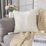 Sungea Minimalist Decorative Throw Pillow Cover, 18x18 Boho Woven Pillowcase Cotton Neutral Collection Cream White Tufted with Tassels Square Cushion Cover for Farmhouse Sofa Couch Bedroom Living Room