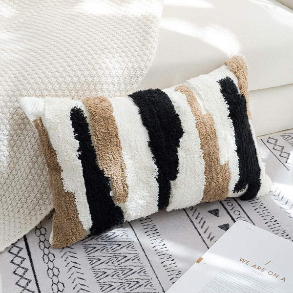 "Tufted Decorative Throw Pillow Cover - Square Boho Tribal Pillowcase, Cotton Woven Morocco Décor Pillow Case, Accent Pillow for Sofa Couch Bed, 12""x20"", White Green & Black"