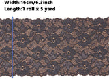 5 Yards Width 6.3 Inch Stretch Lace Trim Fabric Elastic Lace Flowers Ribbon for Garment Craft Embellishment Wedding Baby Shower Table Decorations (Black)
