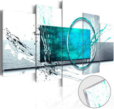 Turquoise Expression Abstract Wall Art 5 Panel Modern Teal Canvas Print Painting