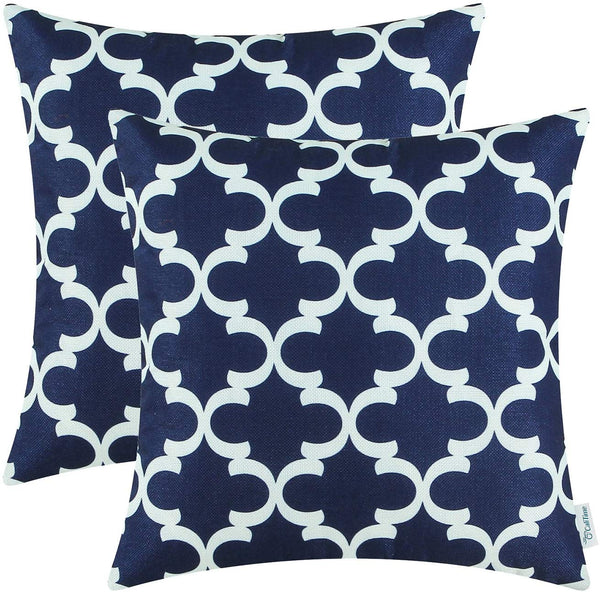 CaliTime Pack of 2 Soft Canvas Throw Pillow Covers Cases for Couch Sofa Home Decor Modern Quatrefoil Accent Geometric 20 X 20 Inches Navy Blue
