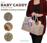 Burlap Baby Diaper Caddy Organizer - Premium Large Natural Burlap Organizer with Rope Handles. Great Storage Organization Basket for Changing Newborn Diapers. Great Nursery Decor or Portable Baby Bag