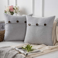 Phantoscope Farmhouse Throw Pillow Covers Triple Button Vintage Linen Decorative Pillow Cases for Couch Bed and Chair Light Grey, 18 x 18 inches 45 x 45 cm, Pack of 2