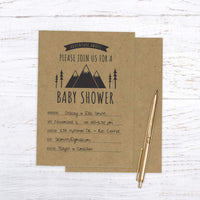 Adventure Awaits Baby Shower Invitation / 25 Mountain Themed Fill in The Blank Baby Shower Invites
