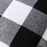 4TH Emotion Set of 2 Farmhouse Buffalo Check Plaid Flannel Throw Pillow Covers Cushion Case Cotton Polyester for Sofa Black and White, 18 x 18 Inches