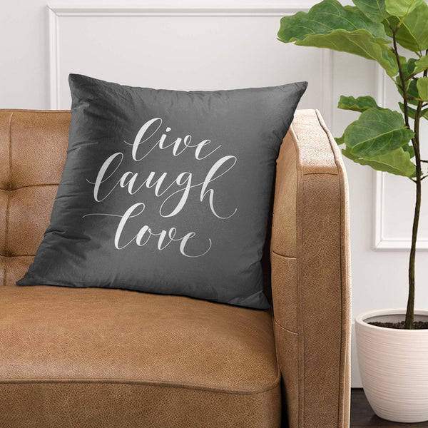 Emvency Throw Pillow Cover Her Gray Live Laugh Love Grey Decorative Pillow Case Home Decor Square 20 x 20 Inch Pillowcase