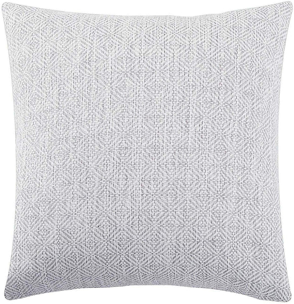 Jepeak Burlap Linen Throw Pillow Cover Rhombus Pattern Cushion Case, Solid Thickened Farmhouse Modern Decorative Square Luxury Pillow Case for Sofa Couch Bed (White/Light Grey, 18 x 18 Inches)