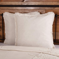 VHC Brands Burlap Decorative Throw Farmhouse Cotton Accent Fringed Ruffle Antique Off-White Pillow, 14x22