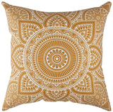 TreeWool Throw Pillow Cover Mandala Accent 100% Cotton Decorative Square Cushion Cases (20 x 20 Inches / 50 x 50 cm; Mustard in Cream Background) - Pack of 2