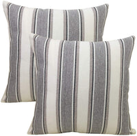 BLUETTEK Cool Stripe Pillow Cases Cotton Linen Square Decorative Throw Cushion Cover 18 Inches by 18 Inches (Gray-2Pc)