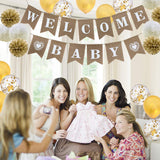 VANVENE Welcome Baby Burlap Banner-Vintage Party Decorations - Baby Shower Decorations