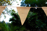 Cotton Craft - 2 Pack - 30 Pieces - Jute Natural Burlap Triangle Banner Garland - Each 14.5 feet long with 15 Flags - DIY Decoration for Holidays, Wedding, Camping, Kids Party, and Happy Birthdays