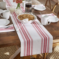 "Elrene Home Fashions Farmhouse Living Homestead Stripe Table Runner, 13"" x 70"", Red/White"