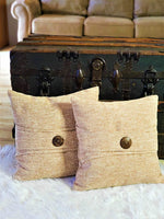 "Osage Bay Throw Pillow Covers Set of 2 | Decorative Square Cushion Cover | Rustic Farmhouse Modern Summer Style | Soft Breathable Stylish Pillowcase for Home Couch Bed 18"" x 18"" (45 x 45 cm) Tan"