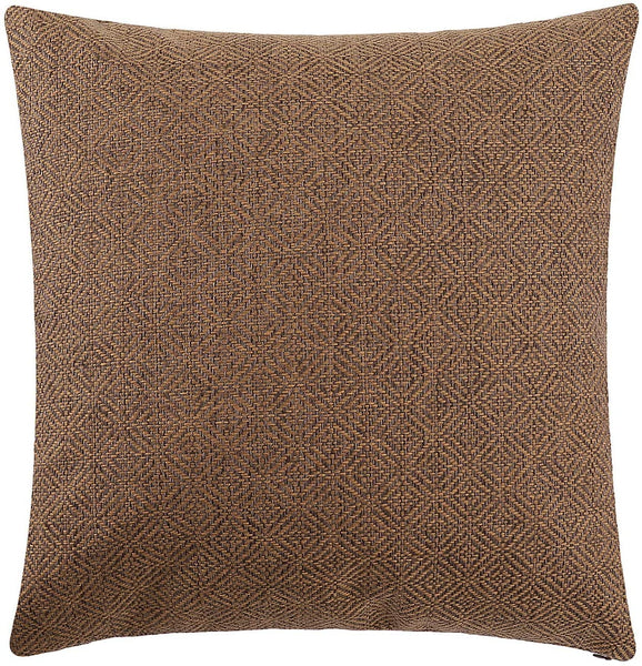 Jepeak Burlap Linen Throw Pillow Cover Rhombus Pattern Cushion Case, Solid Thickened Farmhouse Modern Decorative Square Luxury Pillow Case for Sofa Couch Bed (Caramel/Coffee, 20 x 20 Inches)