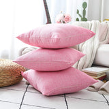 Home Brilliant Throw Pillow Cover Linen Burlap Decor Square Cushion Cover for Living Room, 18x18 Inches(45cm), Fuchsia Pink