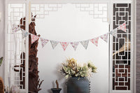 LOVENJOY Vintage Floral Fabric Cotton Bunting Pennant Banner for Wedding Nursery Baby Shower Kids Teepee Decorations (Cute Floral 10.8 ft)