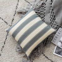 Home Brilliant Pillow Covers Set Decorative Striped Checker Plaid Textured Patterned Throw Pillow Covers Accent Pillowcases Cushion Covers for Bedroom, 5 Pieces, Grey and Beige, (45x45 cm, 18inch)