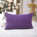 Home Brilliant Decorative Plush Striped Velvet Corduroy Oblong Pillowcase Accent Cushion Cover for Car Office Living Room, 12 x 20 inch, Eggplant
