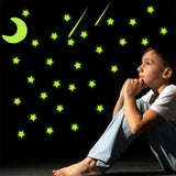 103*Stars Moon Wall Stickers Glow In The Dark Decal Baby Kids Room Bedroom Decor