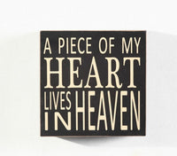"""A Piece Of My Heart Lives in Heaven"" Wood Box Sign 5.75"" Home decoration"