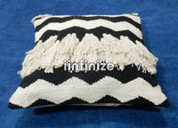 2 PC Combo Vintage Cotton Shaggy Pillow Cover Tassels Throw Decorative Sofa Sham