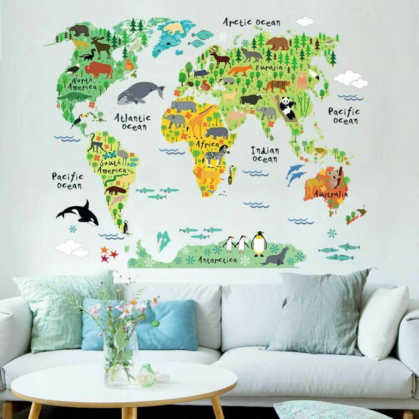 Wall Sticker Home Decor Animal World Map Decal Living Room Kids Bedroom Stickers