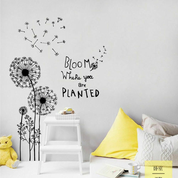 Wall Stickers Home Decor Dandelion Flowers Decals Living Room Sofa House Decors