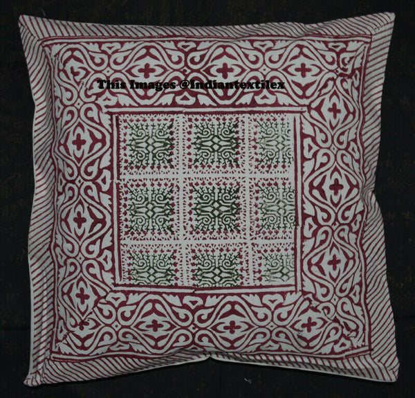 Indian Pillow Cushion Cover Decorative Art Traditional Handmade Hand Block Print