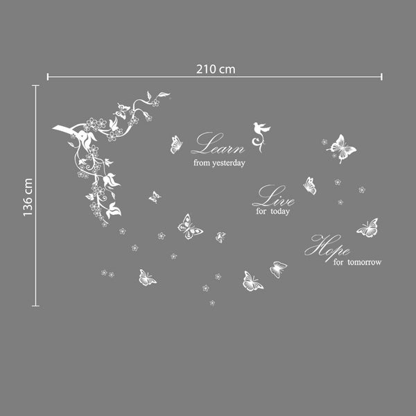 Walplus Butterfliy Vine Learn Live Hope Wall Sticker Living Room Home Decoration