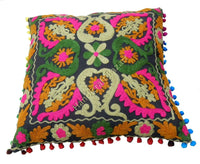 "3 Pcs Indian Embroidered Suzani Cushion Cover 16x16"" Decorative Pillow Sham Boho"