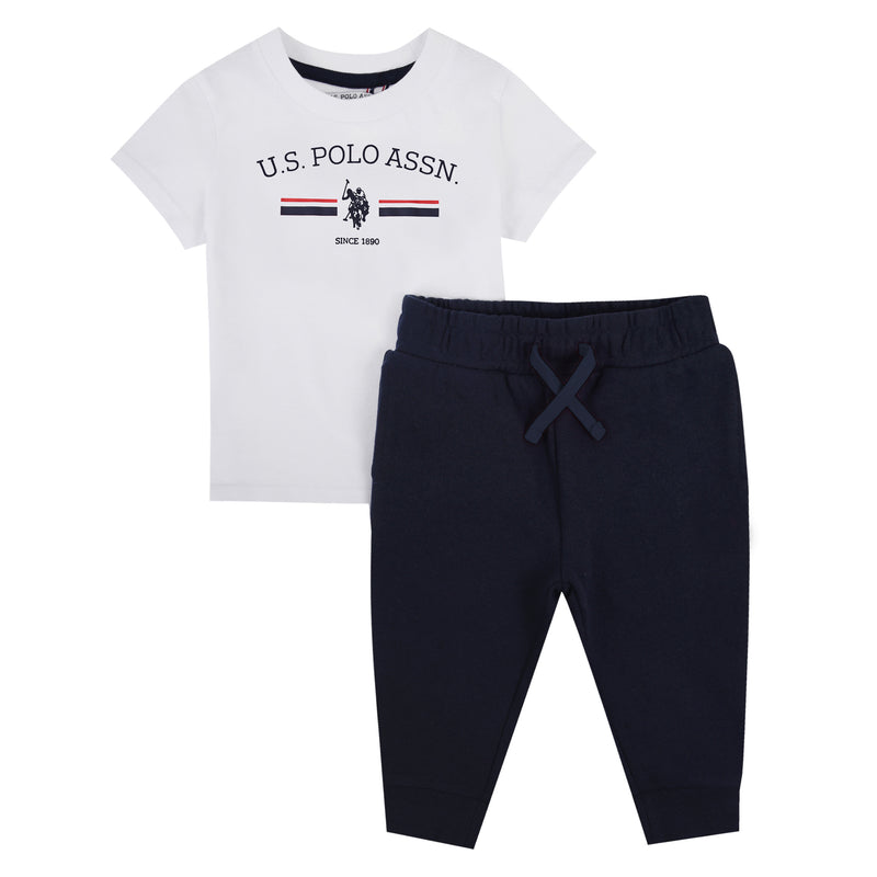 U.S. Polo Assn. Toddler Stripe Rider T- Shirt & Joggers Set