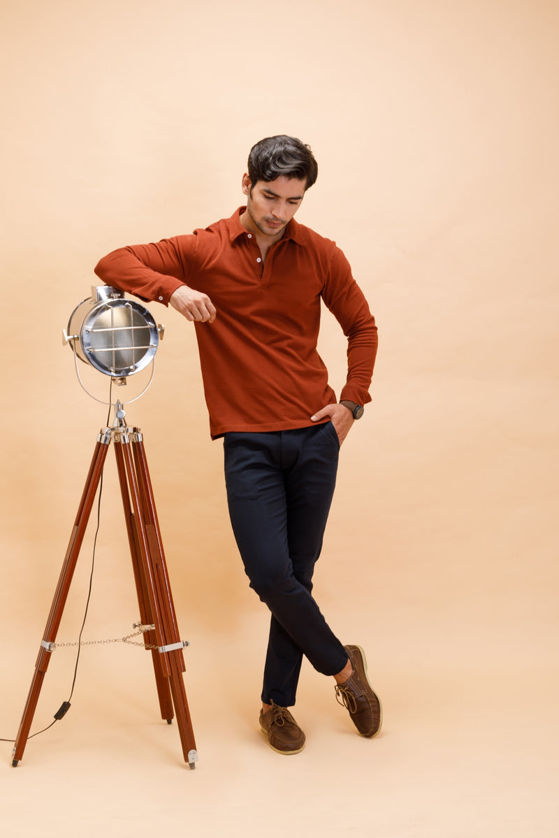 Rust Cotton Polo Shirt Full Sleeve