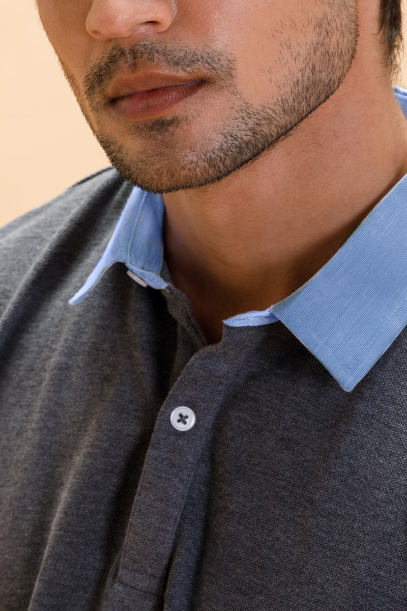 Grey Cotton Polo Shirt Collar Full Sleeve