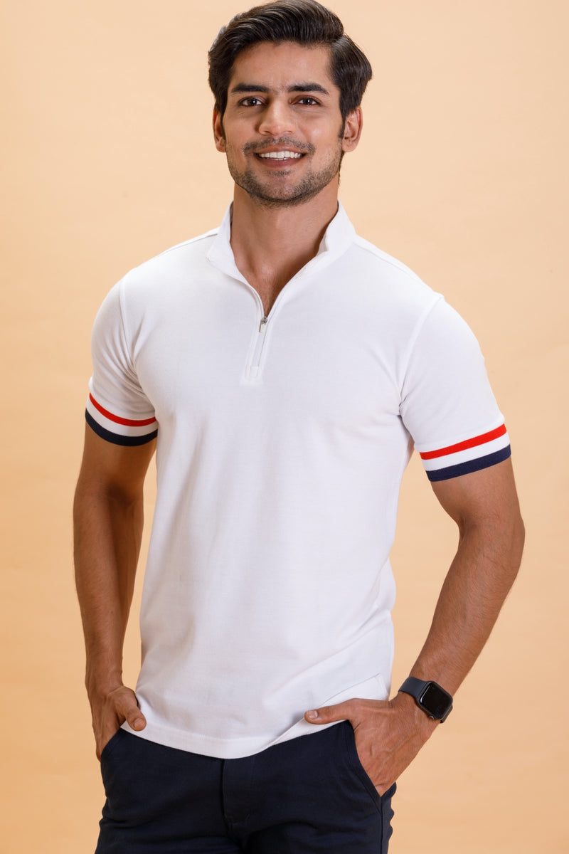 White Stand Up Collar Cotton Polo Shirt
