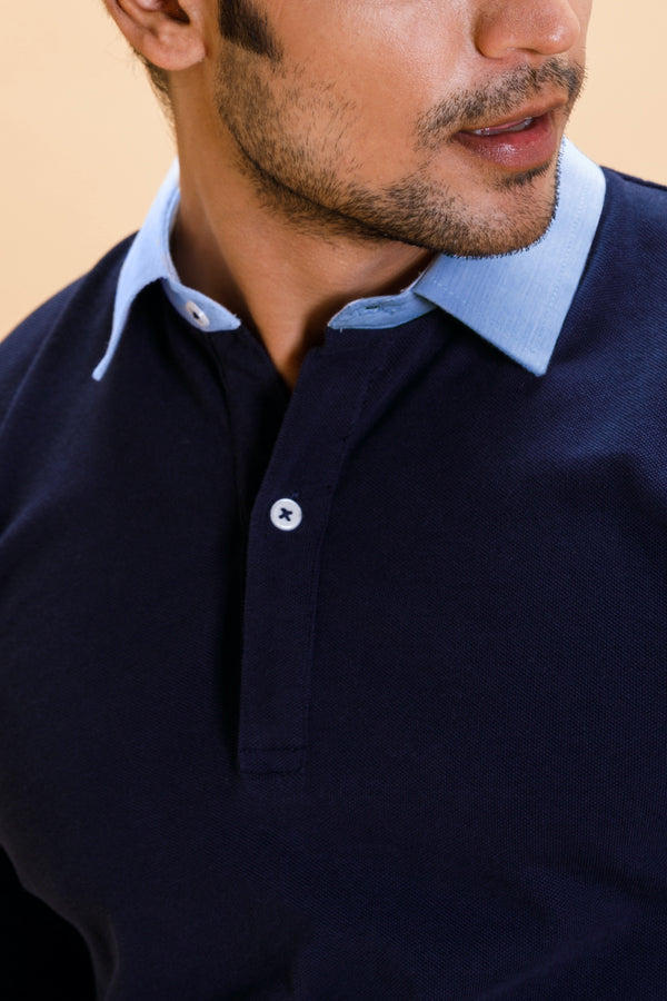 Navy Cotton Polo Shirt Collar Full Sleeve