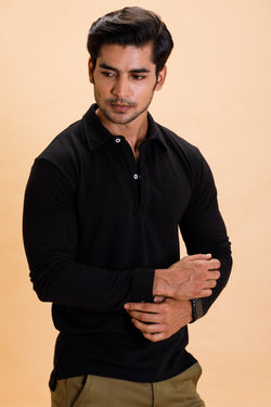 Black Cotton Polo Shirt Full Sleeve