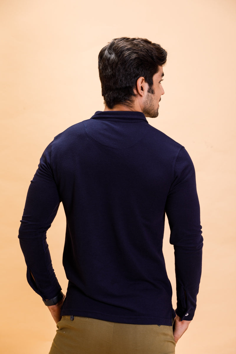 Navy Cotton Polo Shirt Full Sleeve