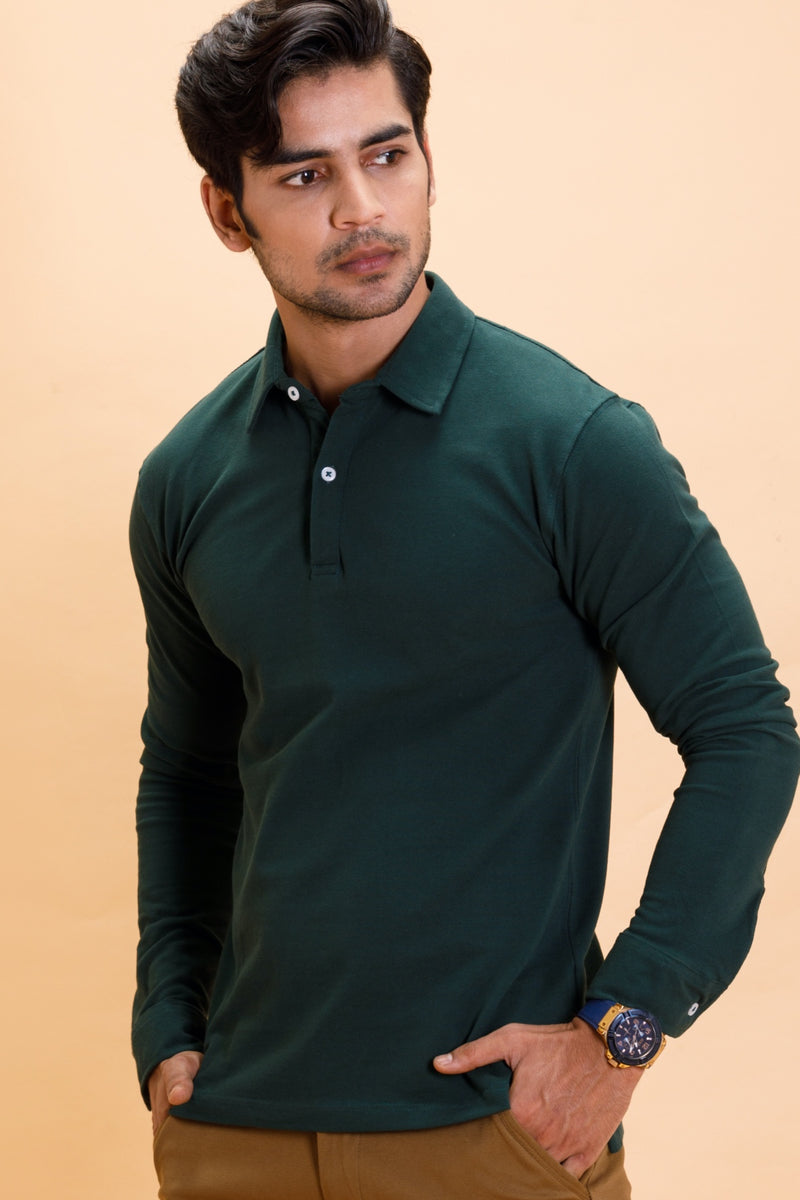 Green Cotton Polo Shirt Full Sleeve