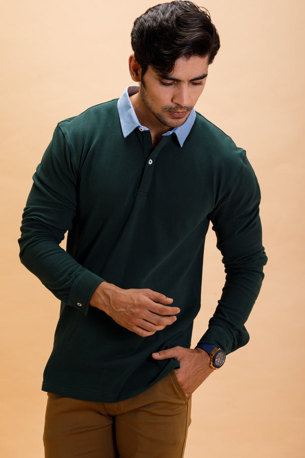 Green Cotton Polo Shirt Collar Full Sleeve