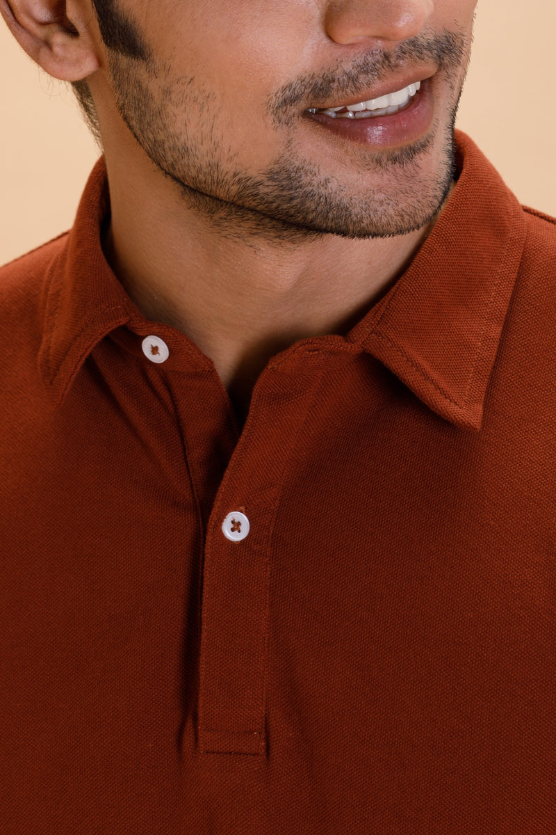Rust Cotton Polo Shirt