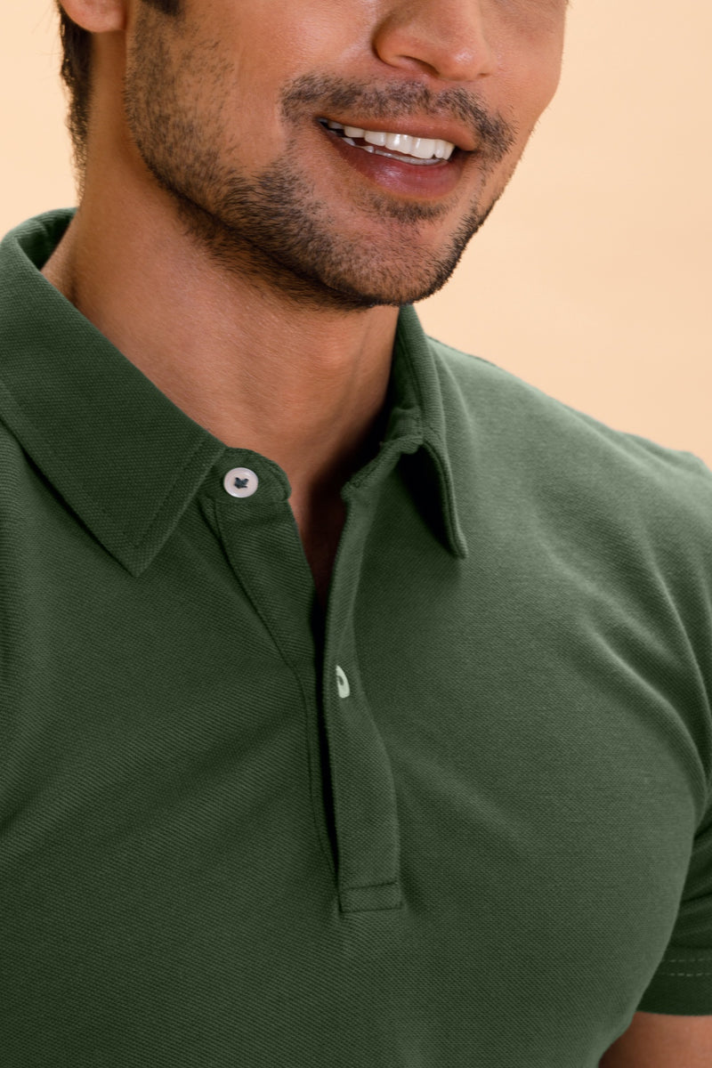Olive Cotton Polo Shirt