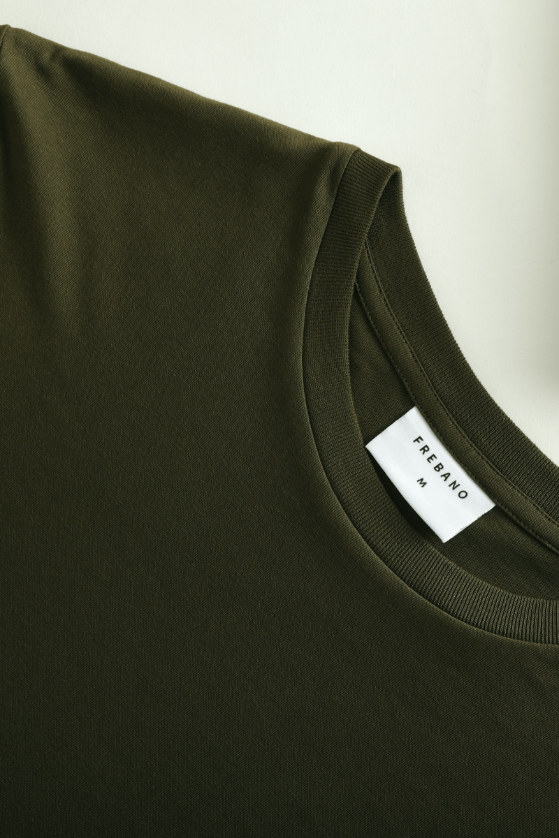 OLIVE SUPIMA COTTON LONG SLEEVE TEE