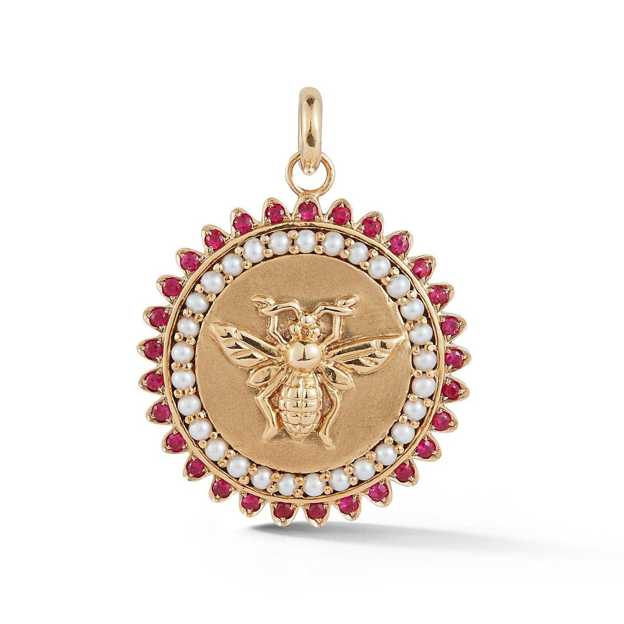 14K Gold Ruby & Pearl Millie Medallion