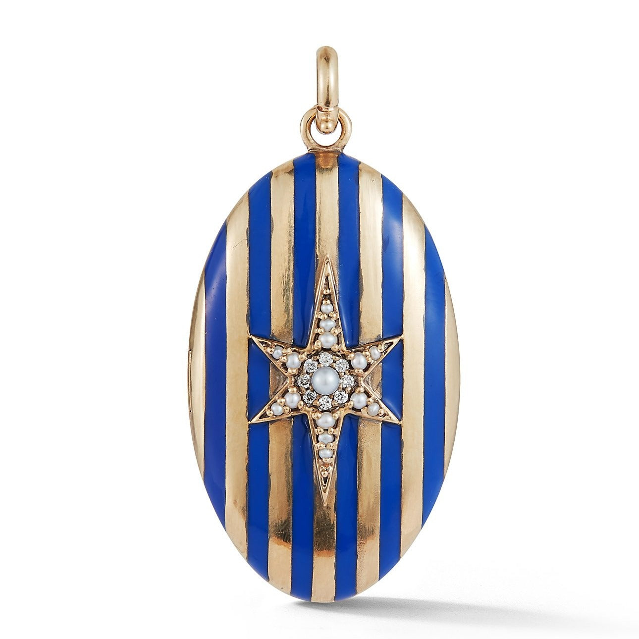 14K Gold Gemstone & Blue Enamel Lillian Locket