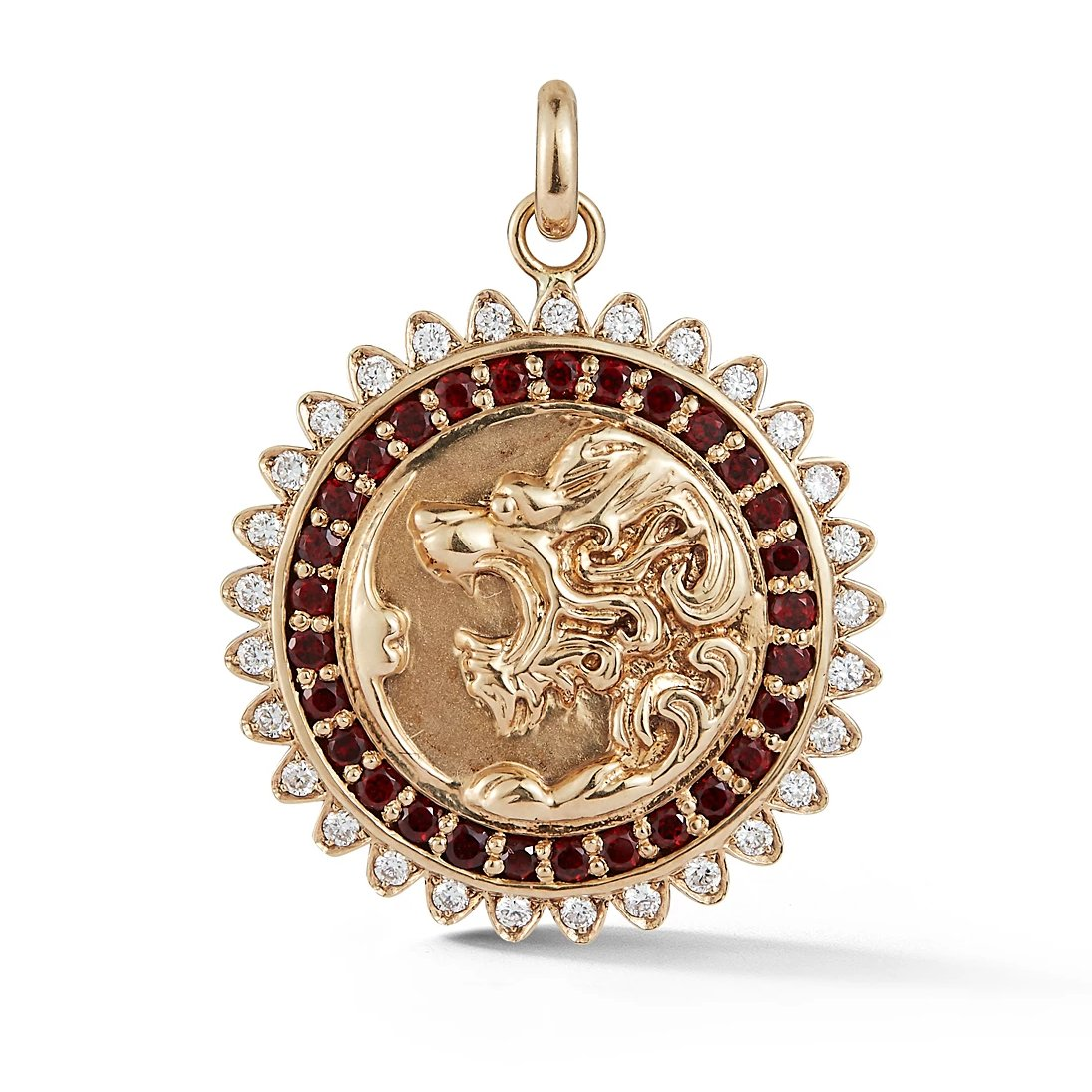 14K Gold Diamond & Garnet Victorian Lion Marion Medallion