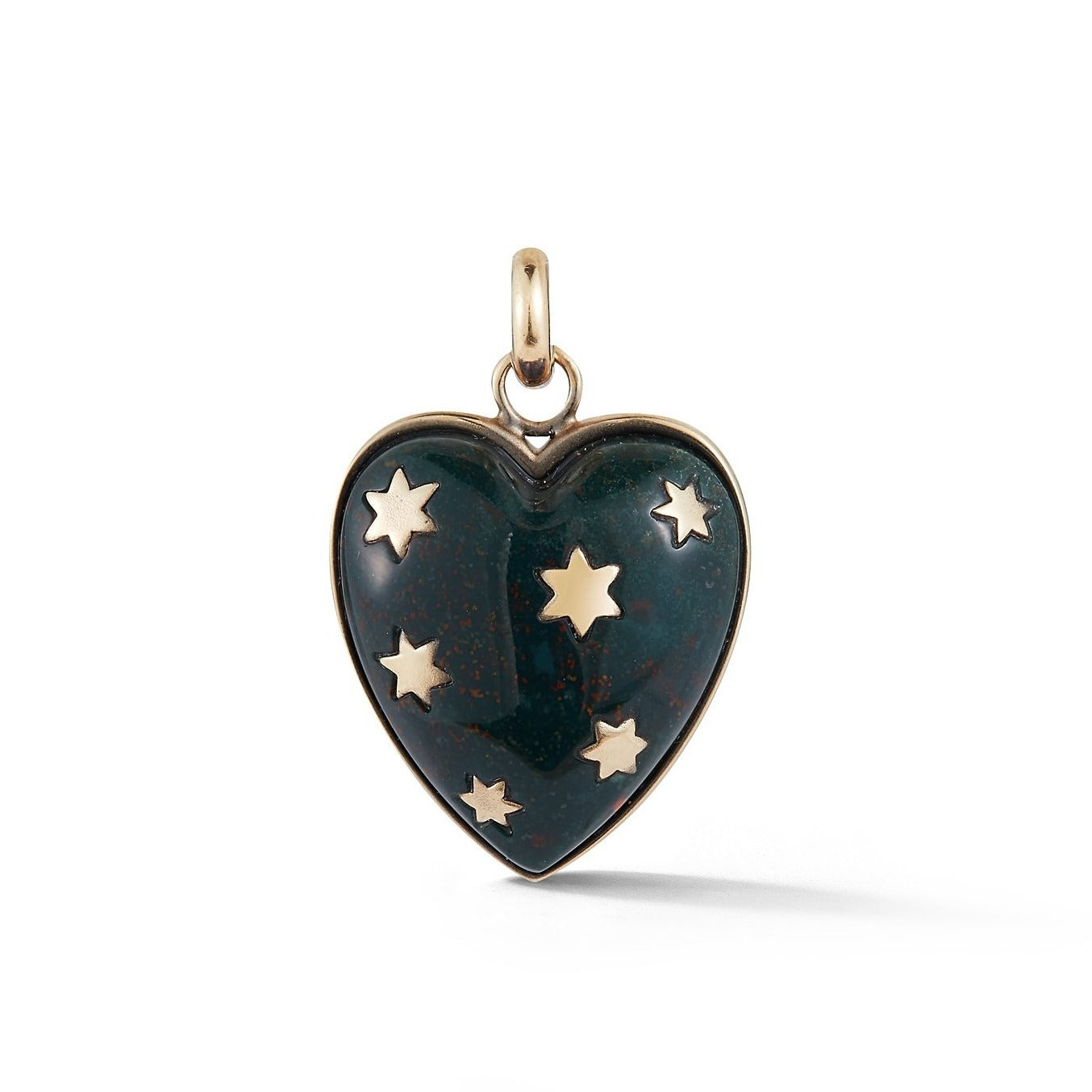 14K Gold & Green Bloodstone Anna Heart Charm